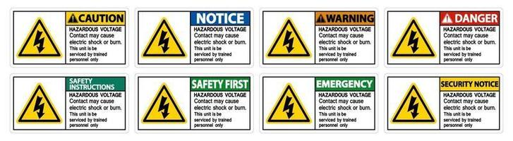 Hazardous Voltage Contact May Cause Electric Shock Or Burn Sign On White Background vector