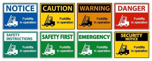 forklifts in operation Symbol Sign Isolate on transparent Background,Vector Illustration vector