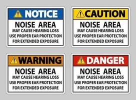 Noise Area May Cause Hearing Loss, Use Proper Ear Protection For Extended Exposure vector