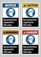 Eye Protection Required In This Area on white background vector
