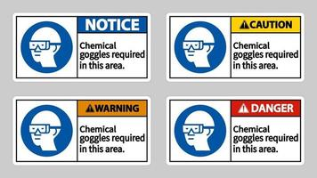 Chemical Goggles Required In This Area vector