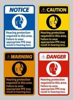 Hearing Protection Required In This Area, Failure To Wear Appropriate PPE May Result In Hearing Loss vector