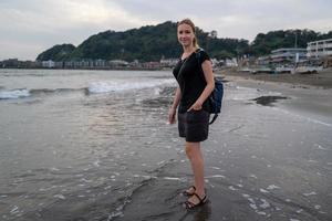 Caucasian girl at the Kamakura Beach photo