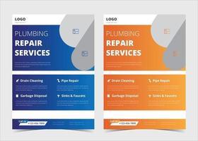 Plumbing flyer template. Plumbing service flyer poster ideas. Plumber service flyer design samples. Plumber service flyer design in two color versions. Plumbing problem fixer flyer template. vector