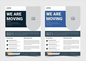 We are moving flyer template. House shifting services poster template. House shifting agency flyer poster template. Fast reliable movers flyer template. Trusted moving experts service flyer template design. vector