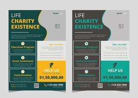 plantilla de volante de caridad. ejemplos de folletos de caridad. folletos de caridad para eventos de recaudación de fondos. Plantilla de póster de volante de recaudación de fondos de caridad. vector