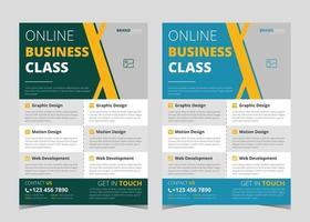 Online class flyer design. Online yoga class flyer. Online learning flyer poster template vector