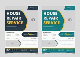 Handyman flyer template. Handyman service flyer ideas. House repair service leaflet template. Handyman house repair service poster design example vector