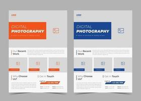 Photography services flyer. Creative studio leaflet. Digital photography flyer. Professional photographer service poster template vector