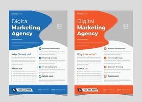 Digital marketing flyer design. Digital marketing flyer example. Creative studio leaflet poster template. Creative agency poster design vector