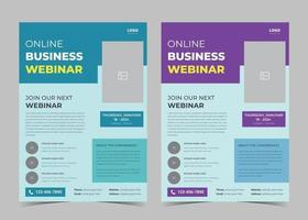 Webinar flyer template. Webinar flyer template examples. Conference poster leaflet template ideas. Online conference poster design vector