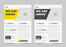 We are hiring flyer design. We are hiring poster template. Job vacancy leaflet flyer template design vector
