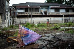 Broken umbrella in Malacca in Malaysia photo