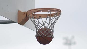 Basketball stuck in basketball hoop net. video