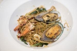 Close up of Spaghetti seafood photo