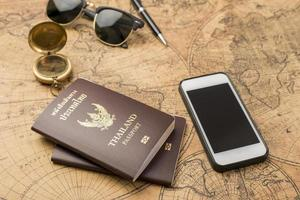 Planning travel concept, Thailand passport on old map photo