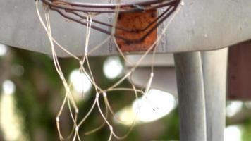 Backboard of an old outdoor basketball hoop. video