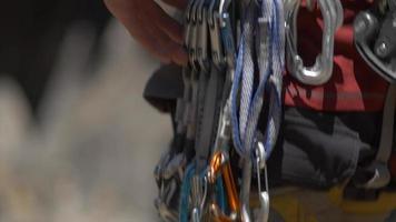 Details of rock climbing equipment. video