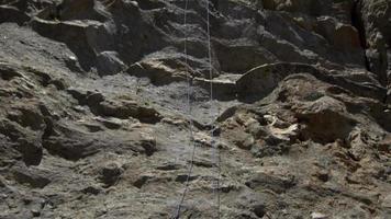 um jovem puxando sua corda para baixo após uma escalada. video