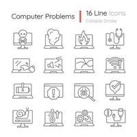 conjunto de iconos lineales de problemas informáticos vector