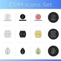 Different fabric features icons set vector