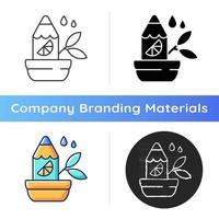 Branded growing pencil icon vector