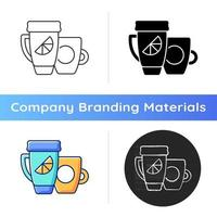 Branded cup and thermal cup icon vector