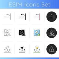 Different types of fabric feature icons set vector