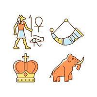 Ancestors heritage RGB color icons set vector