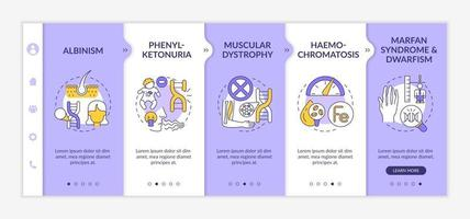 Different genetic disorders onboarding vector template