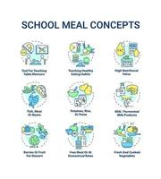 School meal concept icons set vector
