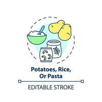 icono de concepto de patatas, arroz o pasta vector