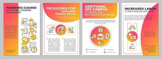 Pandemic caused school meal program challenges brochure template vector