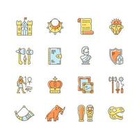 Heritage and museum RGB color icons set vector