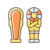 Egyptian sarcophagus RGB color icon vector