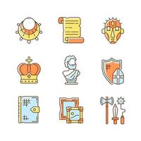 Museum exhibitions RGB color icons set vector