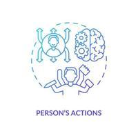 Person actions navy gradient concept icon vector