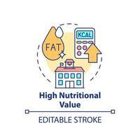 High nutritional value concept icon vector