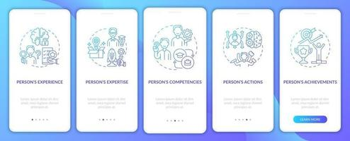 Personal brand components blue onboarding mobile app page screen with concepts vector
