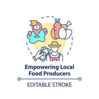 Empowering local food producers concept icon vector
