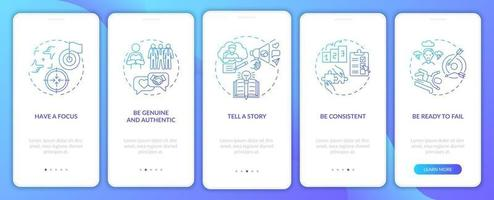 Personal branding rules blue onboarding mobile app page screen with concepts vector