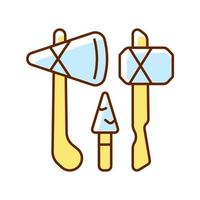 Stone age weapons RGB color icon vector