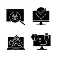 Computer diagnostics black glyph icons set on white space. Laptop maintenance. Virus search. USB cable disconnect. Connection problem. Silhouette symbols. Vector isolated illustration