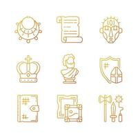 Museum exhibitions gradient linear vector icons set. Ancient jewelry. Historical manuscript. Royal crown. Thin line contour symbols bundle. Isolated vector outline illustrations collection