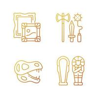Archaeological excavation gradient linear vector icons set. Paintings. Knight weapon. Dinosaur skeleton. Sarcophagus. Thin line contour symbols bundle. Isolated vector outline illustrations collection
