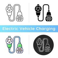 Charging adapter and converter icon. Way of charging electric vehicle. Fueling up with natural fuel. Ecological transport. Linear black and RGB color styles. Isolated vector illustrations