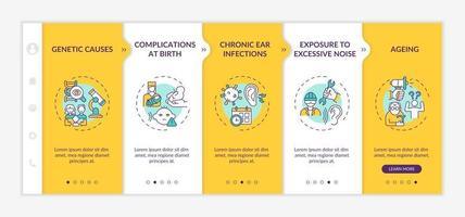 Hearing loss factors onboarding vector template. Responsive mobile website with icons. Web page walkthrough 5 step screens. Genetic causes, chronic infections color concept with linear illustrations