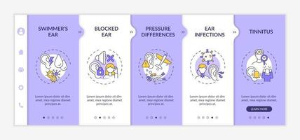 Common ear conditions onboarding vector template. Responsive mobile website with icons. Web page walkthrough 5 step screens. Swimmer ear, pressure differences color concept with linear illustrations
