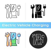 Charging station maintenance icon. Fixing electronic vehicle charging place. Dealing with electricity fuel. Charge process. Linear black and RGB color styles. Isolated vector illustrations
