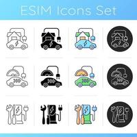 Electric vehicle charging icons set. Charging adapter and converter to fit electromobile. Charging battery of car. Linear, black and RGB color styles. Isolated vector illustrations